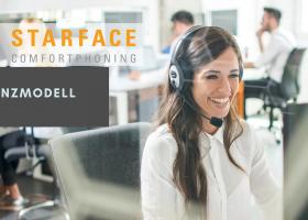 STARFACE Lizenzmodel Werbebild mit Dame im Callcenter